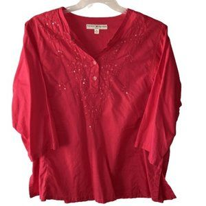 Tommy Hilfiger Size 14 Pink Embroidered Tunic Top